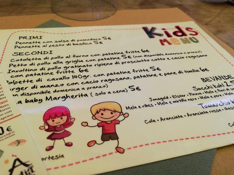 menu di un ristorante di catania adatto ai bambini
