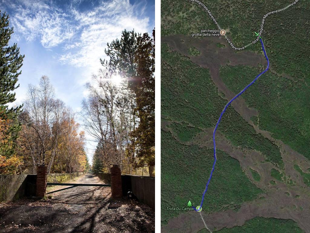 mappa per raggiungere un sentiero sull'etna