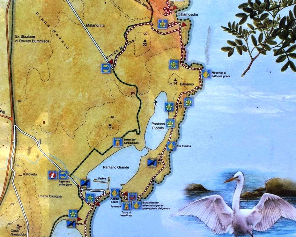 mappa della riserva naturale di vendicari