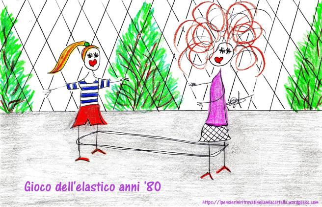 illustrazione di due bambine che giocano all'elastico