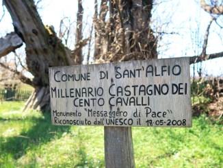 cartello che indica il Castagno dei Cento cavalli