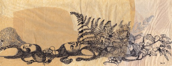 """Claire Marsh, """"flora and fauna"""", 2013, indian ink on sewing paper, 23.5 x 54cm"""