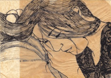 """Claire Marsh, 2012, """"Charlotte"""", indian ink on sewing paper"""