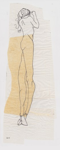 Claire Marsh, 2013, hunter sketch 1, indian ink on sewing paper