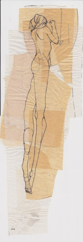 Claire Marsh, 2013, hunter sketch 3, indian ink on sewing paper