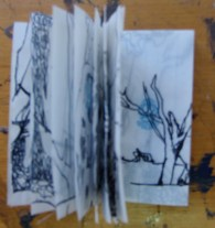 Claire Marsh, 2010, tree series, ink on cigarette paper booklet