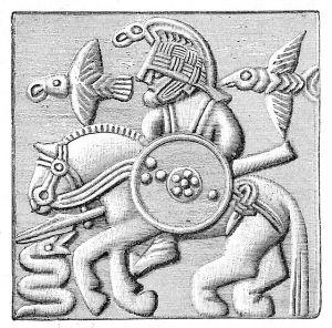 Une possible représentation d'Odin sur un ancien casque scandinave
