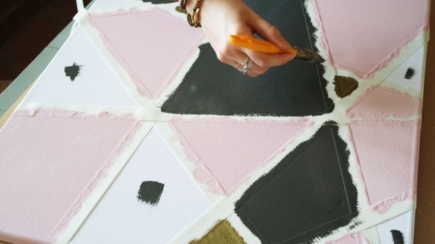 tableau déco peinture géométrie diy