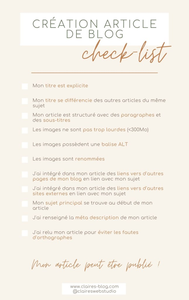 Check list création article blog