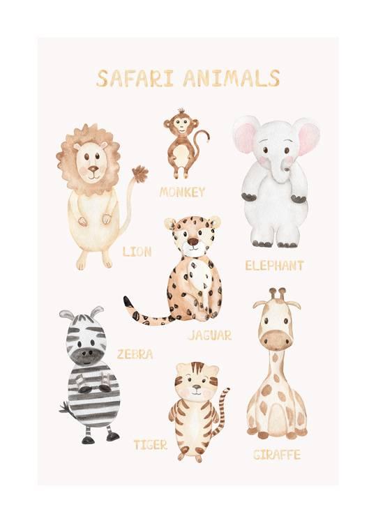 animaux de la jungle poster
