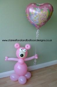 Christening balloon bear character