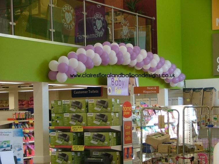 Corporate spiral balloon arch