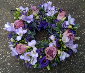 Floral funeral open wreath tribute