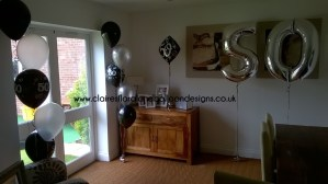 Latex, foil and jumbo number balloons for a 50th birthday