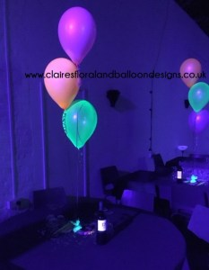 Neon latex balloon table centrepieces