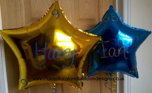 Personalised foil star balloons with glitter writing