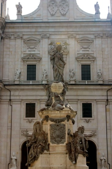 Dom zu Salzburg - at a certain angle the Madonna statue is crowned by two angels on the church's facade.