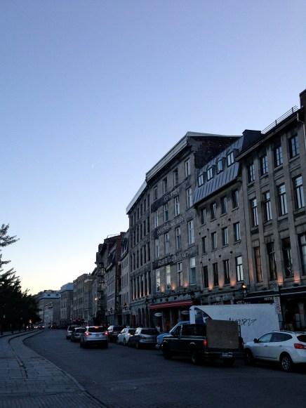 Rue de la Commune at dusk