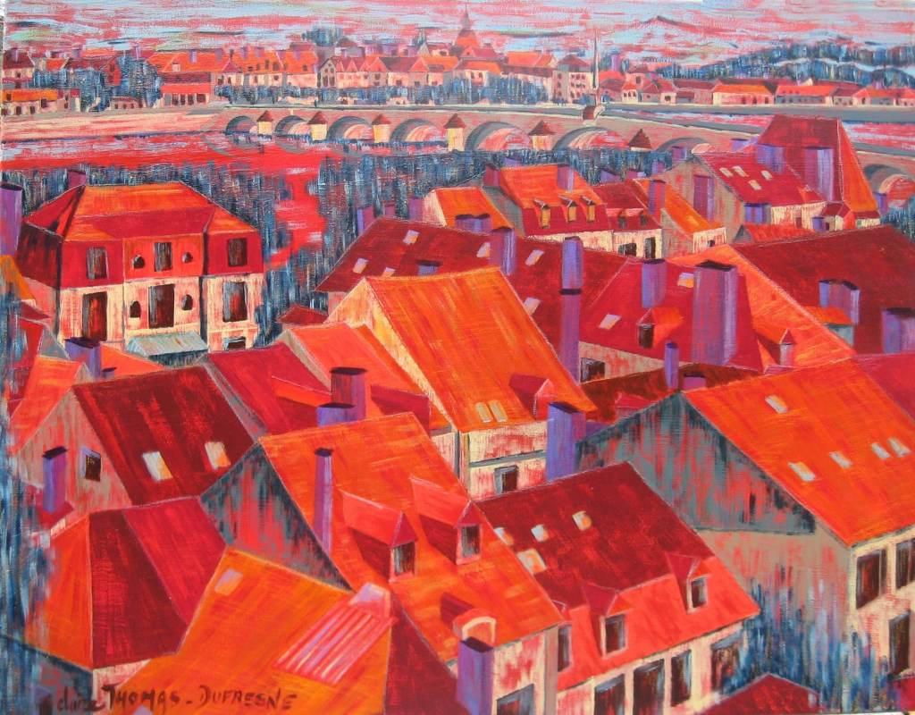 Peinture acrylique paysage urbain
