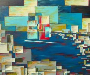 Peinture acrylique côte bretonne abstrait