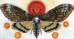 death head styx moth painting