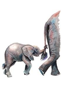 watercolor of elephants