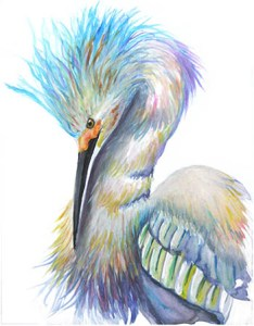 watercolor of egret