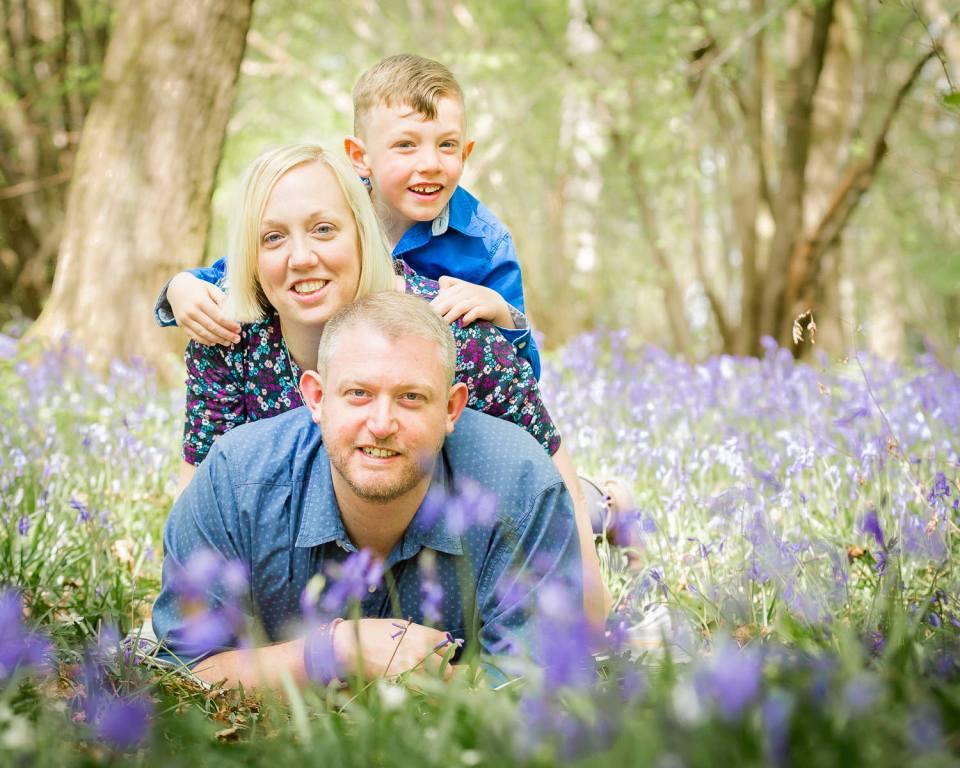 family in bluebells, boy in bluebells, bluebells in Horsham, Bluebells in Sussex, bluebells near billingshurst, sussex bluebells
