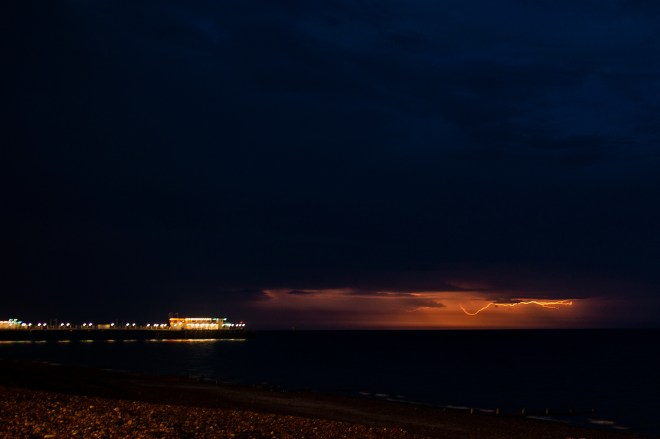 Lightning over Worthing Pier