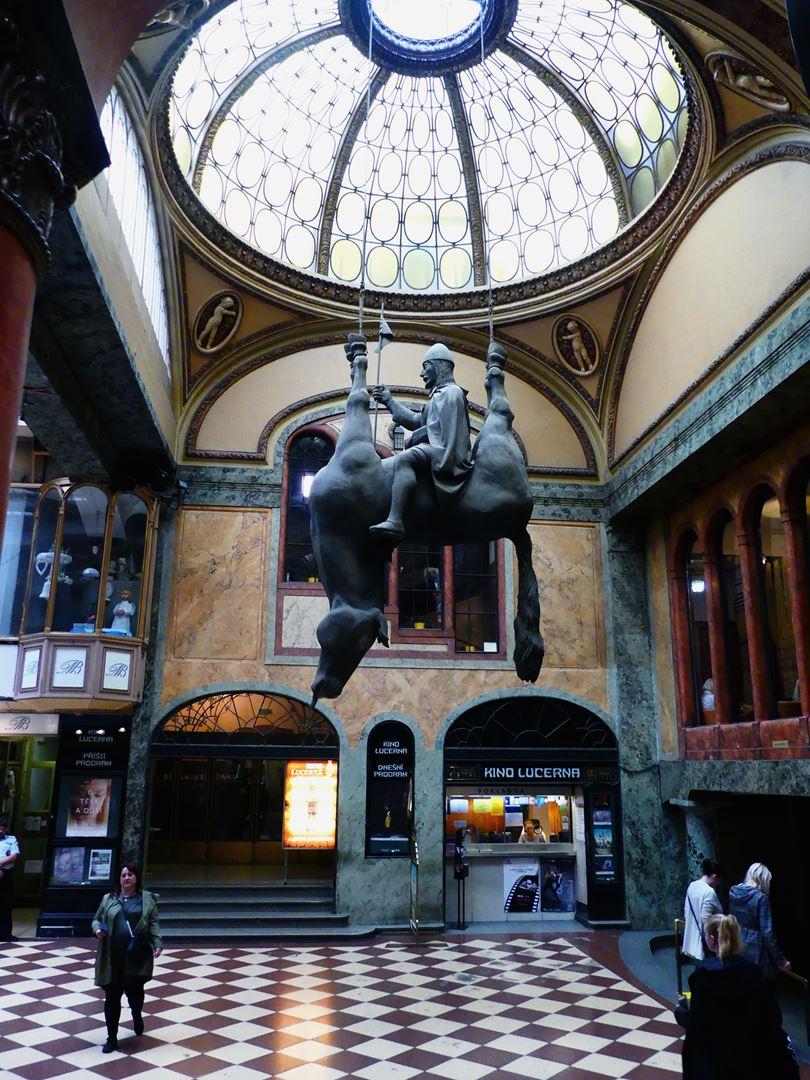 Prague Passage Lucerna David Cerny Statue Venceslas Claironyva