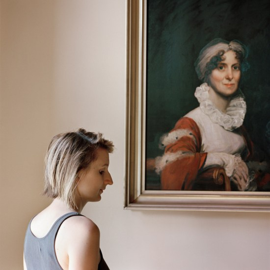 Denny, Frances F., Edith, with a portrait of her ancestor