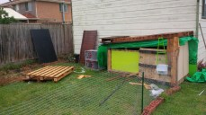 Up goes a fence to keep the dogs out of the chicken's area. The two worst dogs for chickens are Terriers and we have three of them, one of which we know from experience LOVES to chase birds. The fencing cost us a bit more (not included in the $30) but it'll be worth it to keep our chickens alive.
