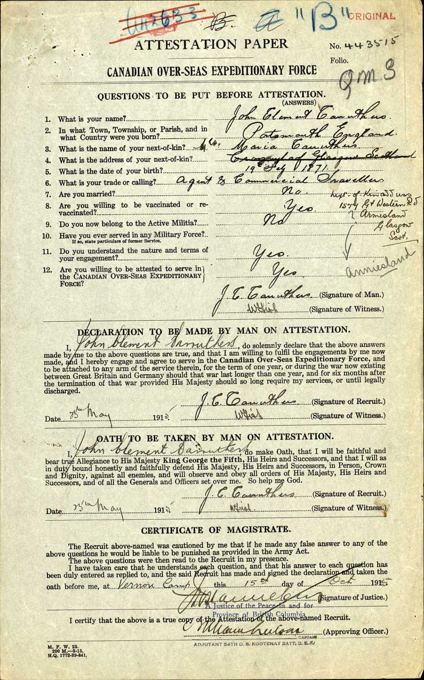 John Clement Carruthers - Canada WWI