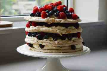 Mixed berry stack with 4 layers of meringue.