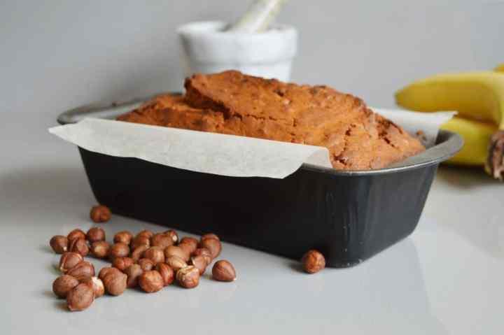 Spiced banana and hazelnut loaf