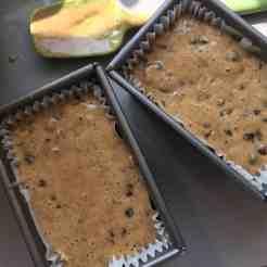 Yorkshire Tea Loaf cake batter in 1lb loaf tins.