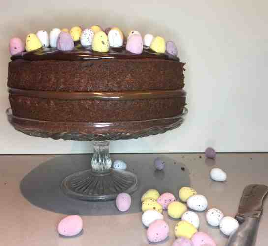Chocolate Cake with Lindt Hazelnut chocolate spread filling. Decorated with mini sugar coated eggs.