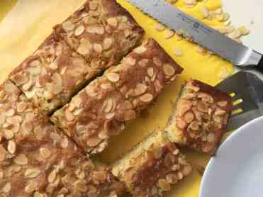 Lemon, Almond poppy seed squares