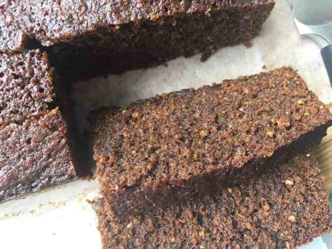 Slices of Treacle and Glacé Ginger Parkin