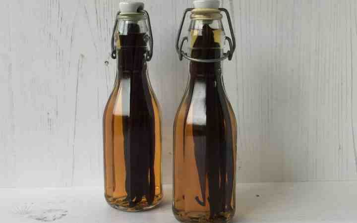 Vanilla Extract in 2 glass bottles.