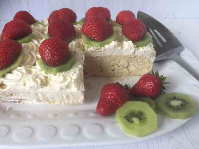 Tres Leches cake on a white plate