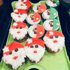 Santa Clause decorated cupcakes