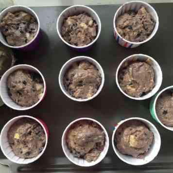 Muffin mixture in muffin cases