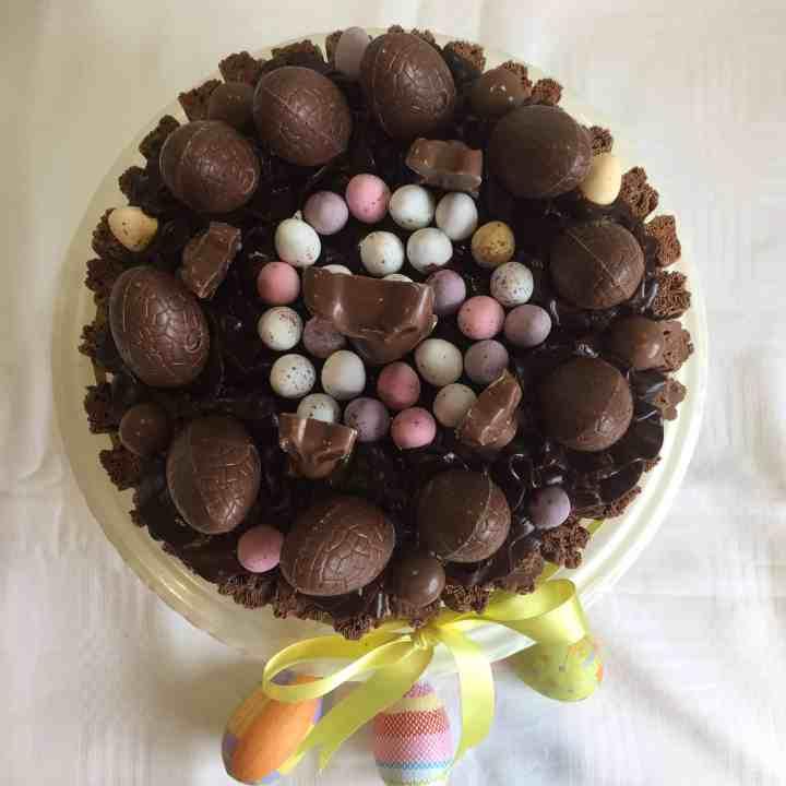Decorated chocolate cake