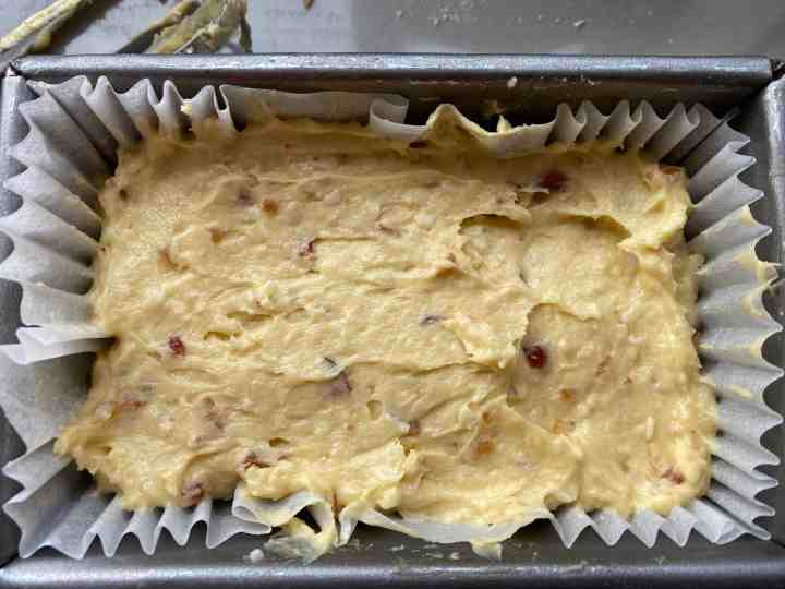 Cake batter in baking tin