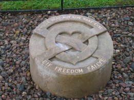 The tombstone containing the heart of King Robert the Bruce.