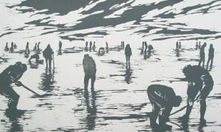 Clara Lieu, woodcut print, Digging series