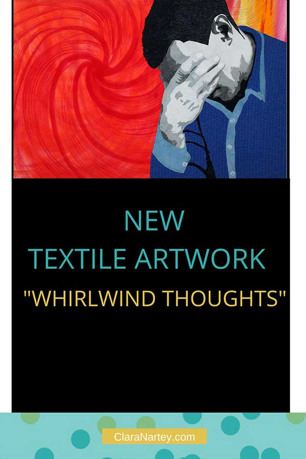 "New Textile artwork - ""whirlwind thoughts"", stitched, hand-painted, fabric collaged"