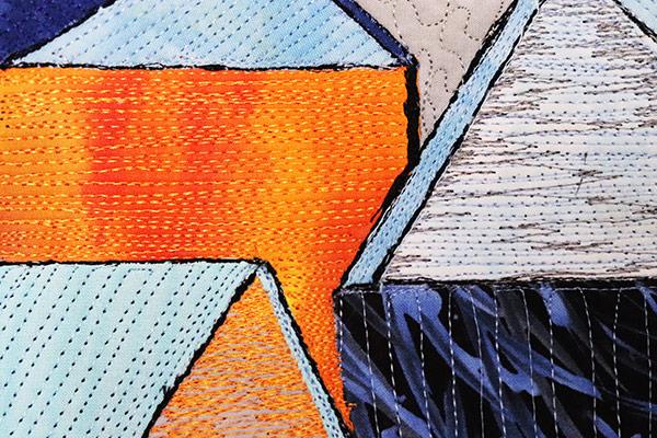 The essence of the color black | textile art | fabric art | fibre art | architecture| Orange | Blue