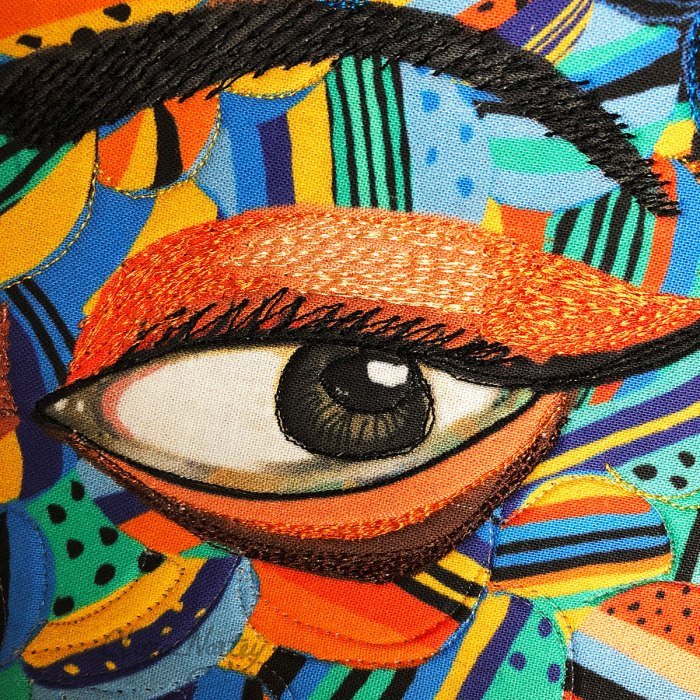Digital Painting/ Machine Stitching on Cotton Fabric, with Polyester Threads